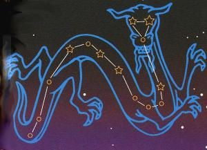 Constellation Draco with major stars marked