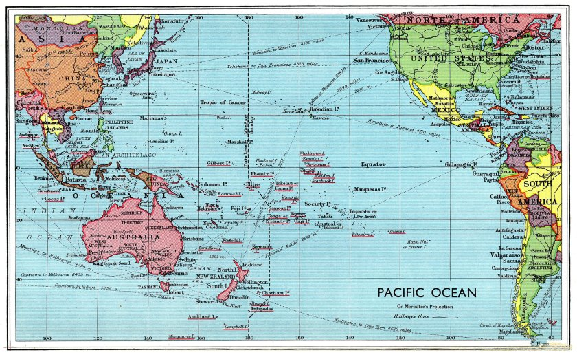 Image result for map of pacific ocean