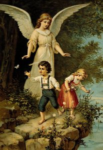 religion, angels, guardian angel, oil print, 19th century, protecting, child, children, kid, kids, girl, boy, playing at abyss,