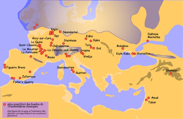 Neanderthal sites map