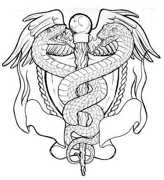 caduceus, drawing
