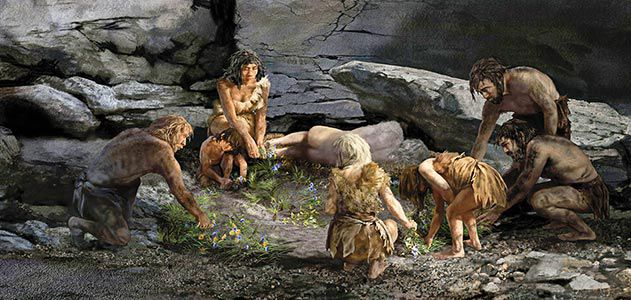 neanderthal-burial-scene-Shanidar-cave-631