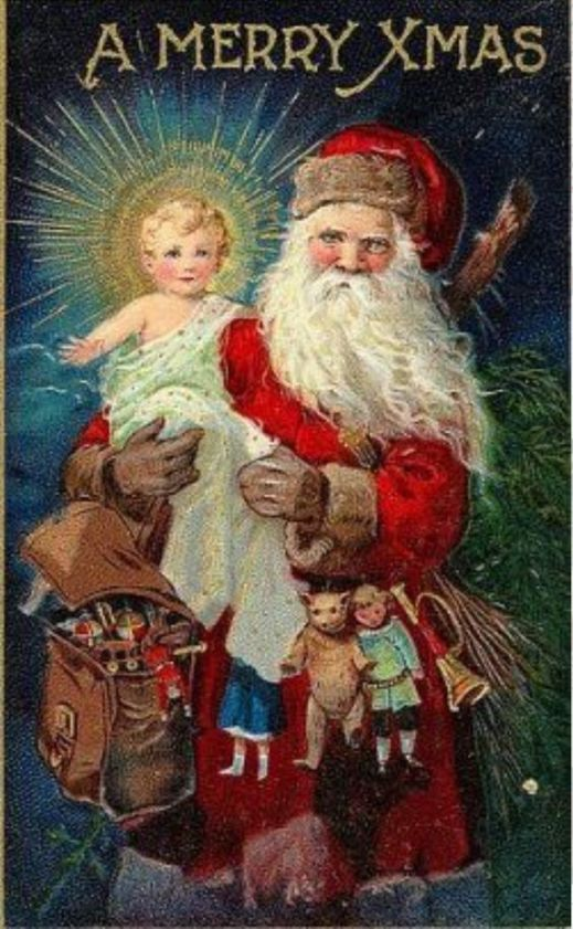 Santa carrying Jesus