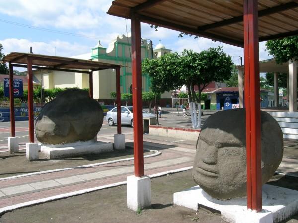 View-of-fat boy Monte-Alto-Monuments-in-the-town-square-of-La-Democracia-Guatemala