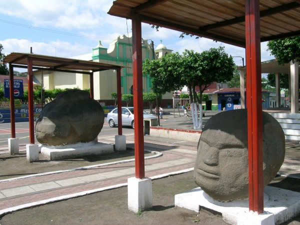 View-of-fat boy Monte-Alto-Monuments-in-the-town-square-of-La-Democracia-Guatemala